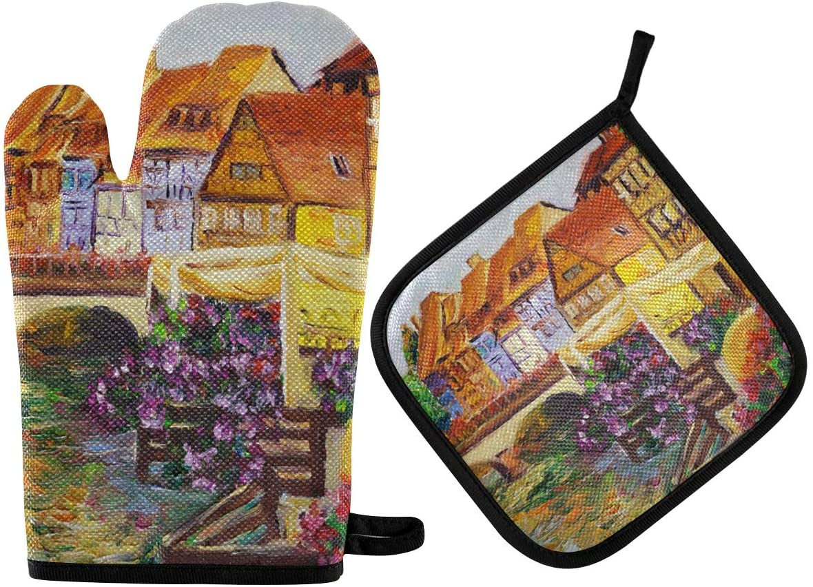 DOMIKING Pot Holders Oven Mitts Sets - Oil Painting Italy Cooking Gloves Heat Resistant Hot Pads Non-Slip Potholders for Kitchen Grilling BBQ Cooking