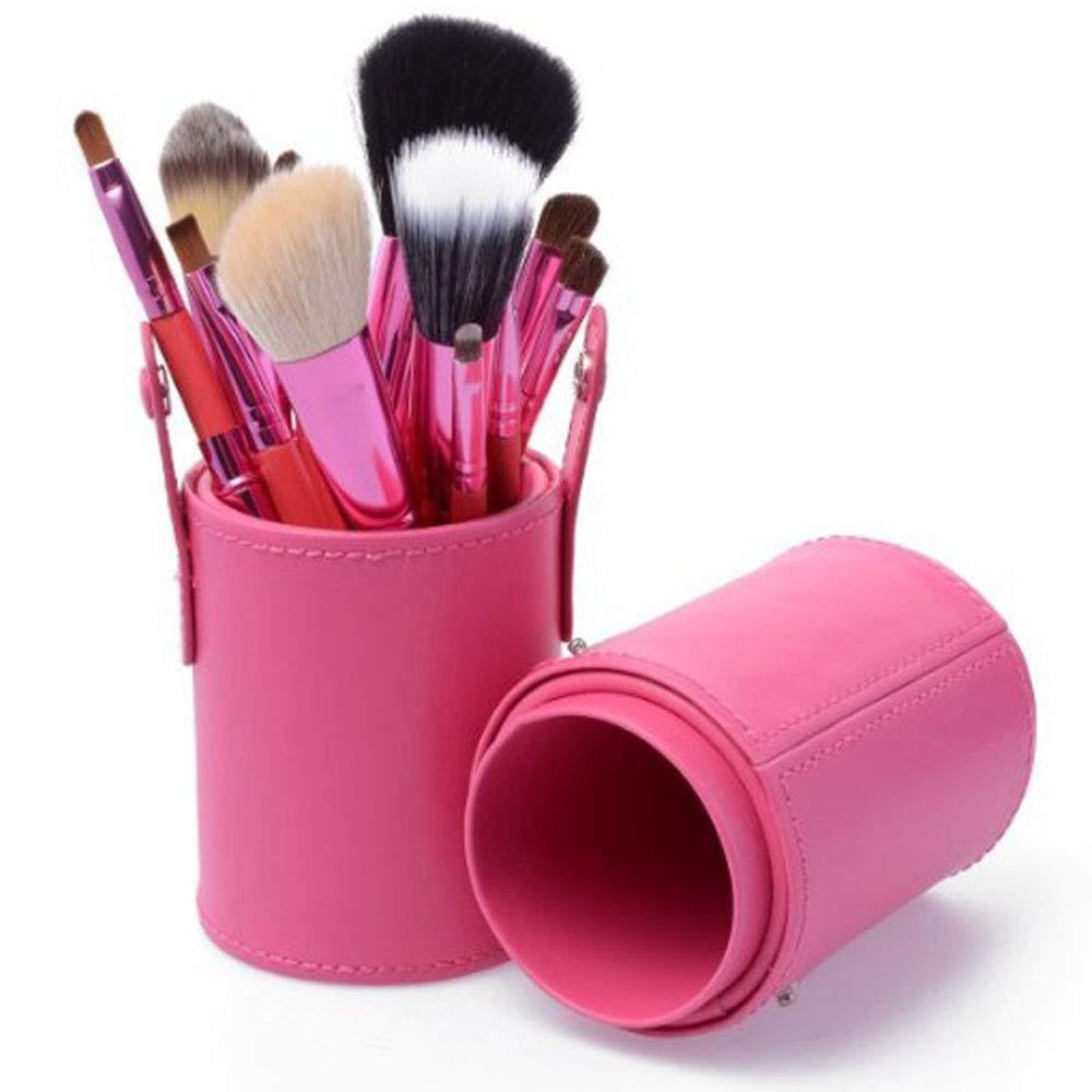 Makeup Brush Set 12pcs Synthetic Makeup Brushes Travel Set with Holder Makeup Brush Organizer Foundation Powder Contour Blush Eye Cosmetic Brush Sets Case Gifts for Girls Women (Pink)