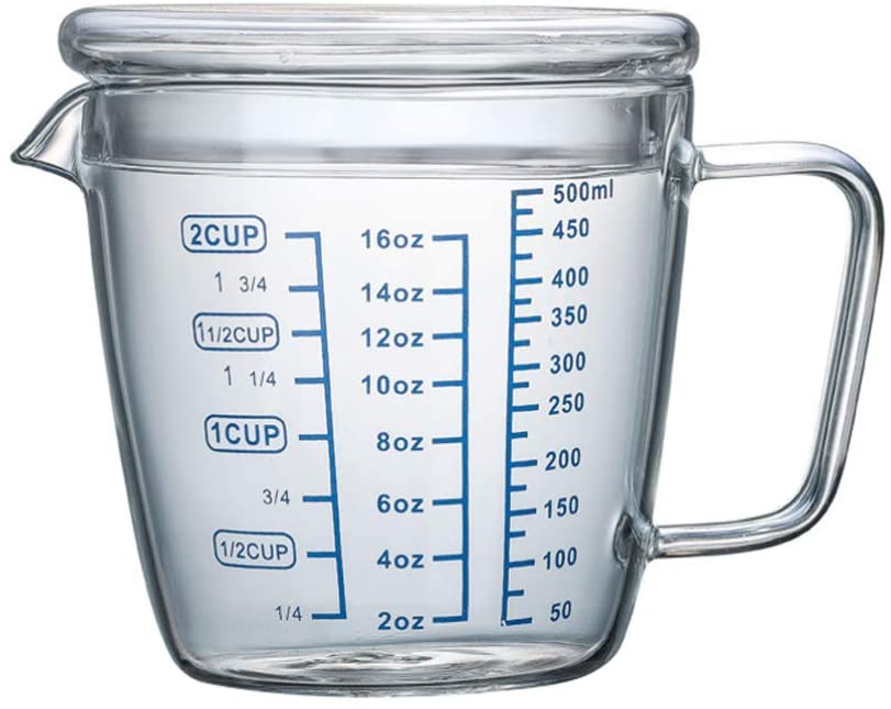 UPKOCH Heat Resistant Glass Measuring Cup Scale Marking Cup Microwave Measuring Cup with Lid for Home