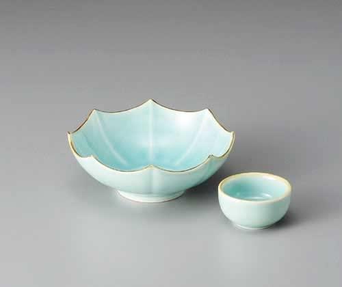SABI Marine Blue Octagonal 15 cm Sushi Plate + Small Plate Porcelain