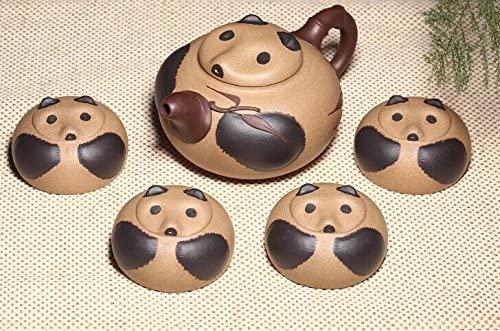 A Set of Tea Set 1 Teapot and 4 Tea Cups Chinese Yixing Handmade Pure Clay Zisha Tea Set Panda Design