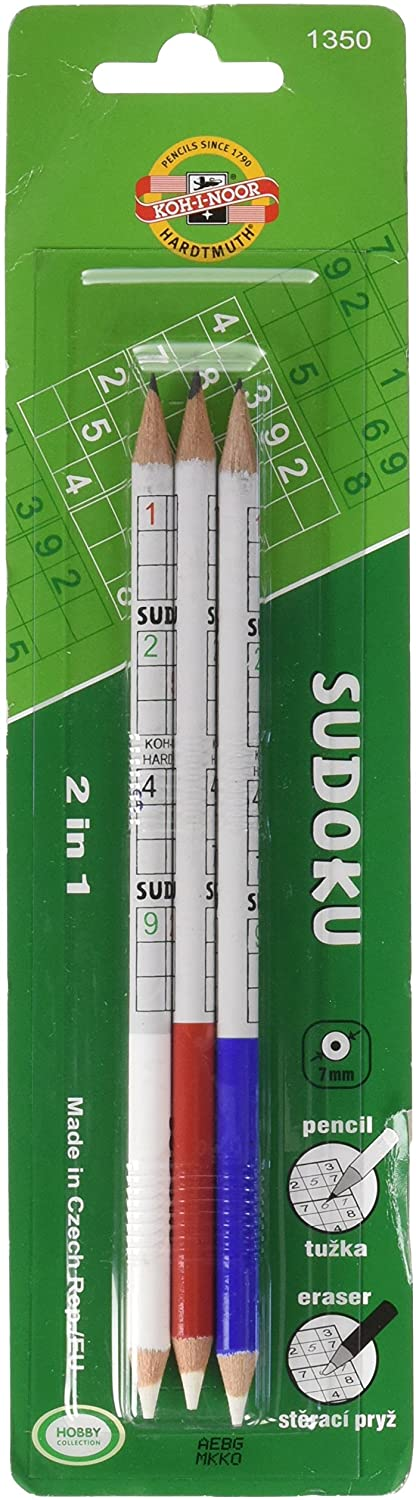 KOH-I-NOOR 2B Sudoku Graphite Pencil with Eraser (Pack of 3)