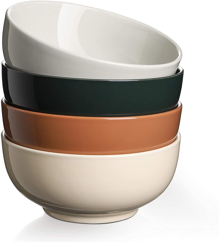 (7 Packs) DOWAN 32 oz Porcelain Soup Bowls Set of 3 + 22 oz Porcelain Cereal Bowls Set of 4, Dinnerware Set for Your Kitchen and Family Dinner, Kitchen Bowls for Soup, Cereal, Dessert, Salad, Ramen, P