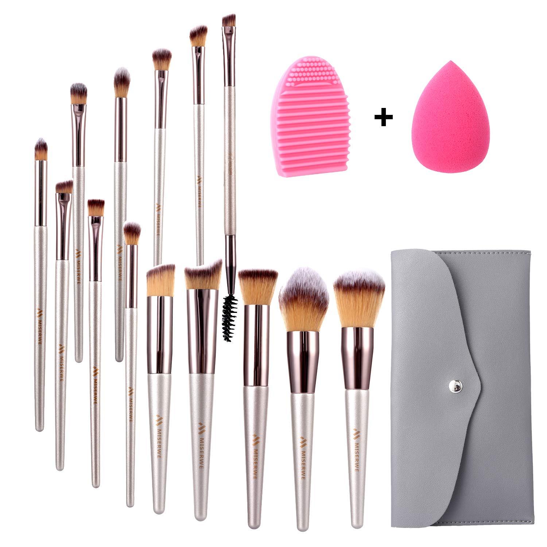 Miserwe 17Pcs MakeupBrushesSet Professional Cosmetic Brushes with Makeup Sponge Brush Cleaner and Travel Makeup Bag with Face Eye Shadow Foundation Lip Liquid Blending Brush Kit