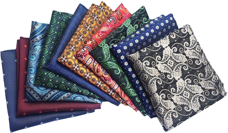 MENDENG Men's 10 Pack Paisley Pocket Square Wedding Party Handkerchief Hanky