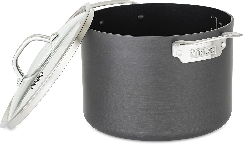 Viking Culinary Hard Anodized Nonstick Stock Pot, 8 Quart, Gray