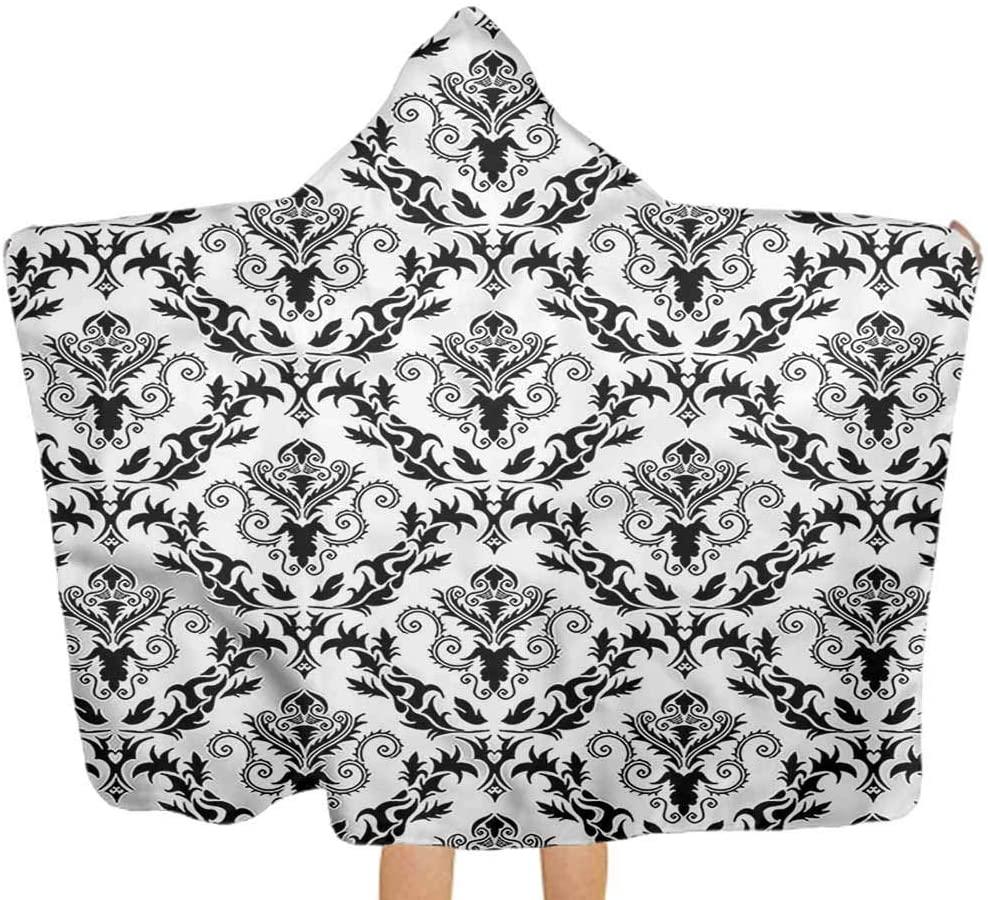 Carmaxs Damask Kid Blanket Geometric Diamond Leaf Motif Hooded Towels for Boy Girl 32 x 50 Inch Child Bathroom Birthday Gifts