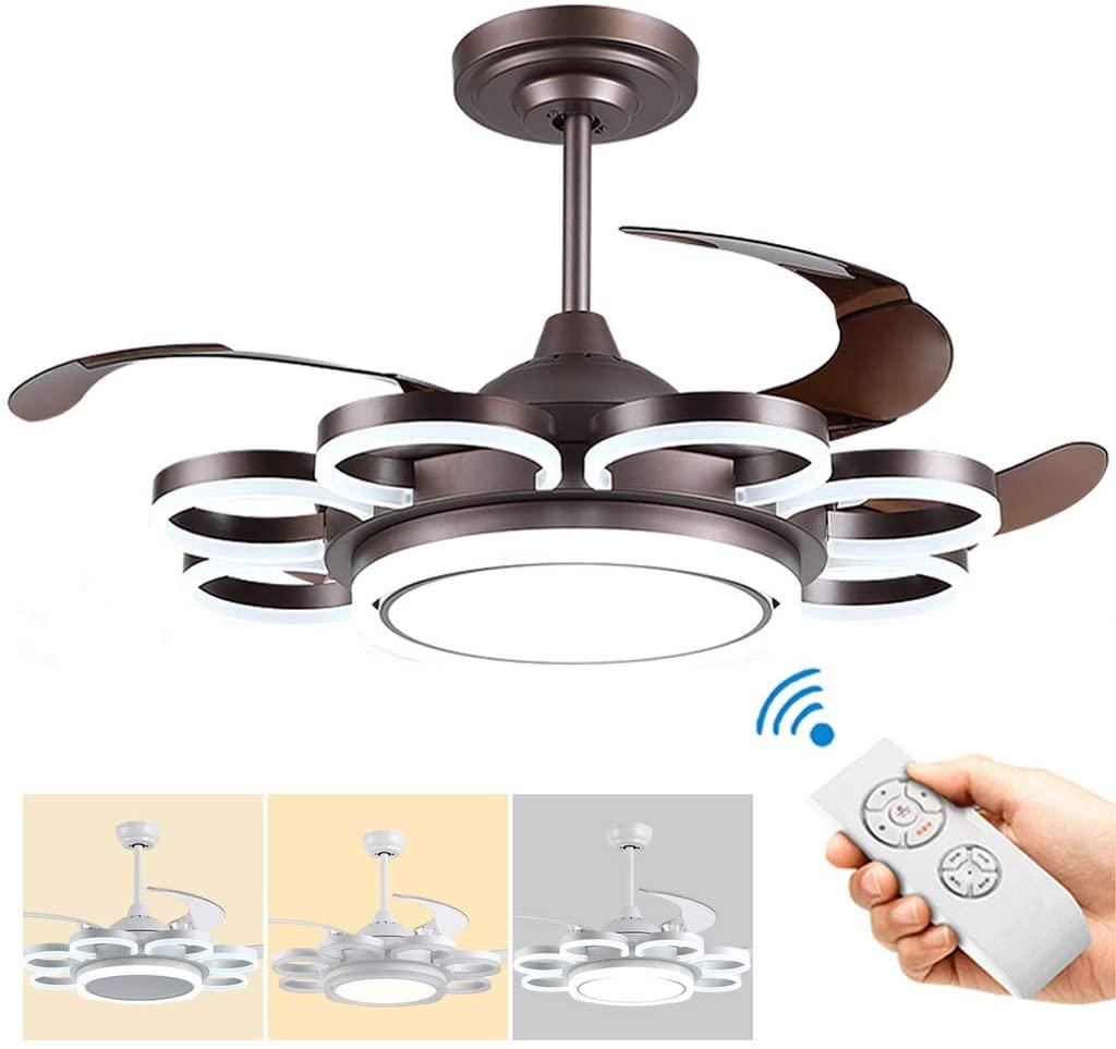 TSDS Modern Ceiling Fans Light, Silent Segmented Light Control Fan Light, LED Ceiling Fan Light with Remote Control, Petal Ceiling Fan Light Chandelier Lighting Coffee Gold 136W