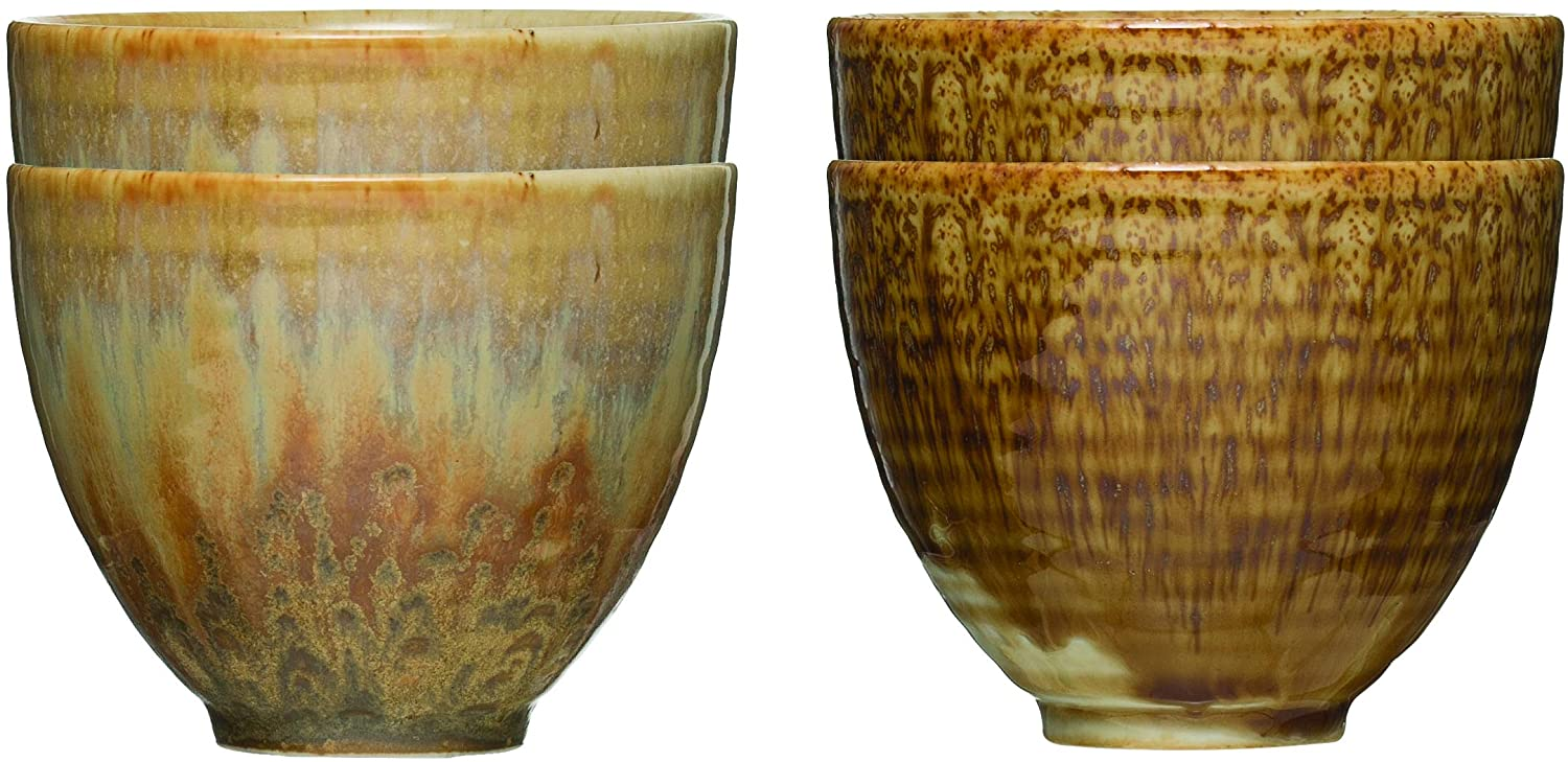 Creative Co-op 12 oz. Stoneware Reactive Glaze Finish & Without Handles (Set of 2 Patterns) Cups, Brown