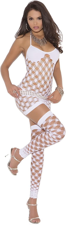 Sexy Womens Diamond Net Halter Neck Mini Dress, G-String & Thigh Hi Lingerie Set
