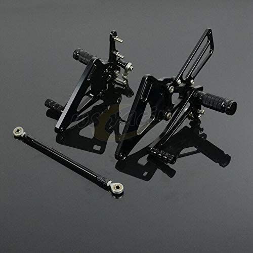 Frames & Fittings CNC Adjustable Motorcycle Rear Sets Billet Foot Pegs Pedals Rest Footpegs for Yamaha XJR400 1993-2007 Motorbike - (Color: Black)