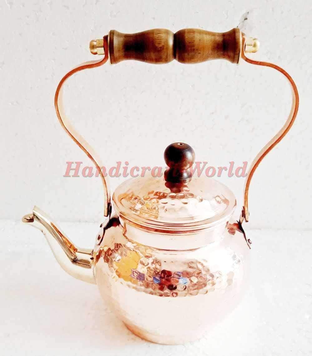 Handicraft-World Handmade Ayurveda Healing Copper Hammered Serving Teapot Drinkware Kettle Designer Brass And Wooden Handle Tea Maker