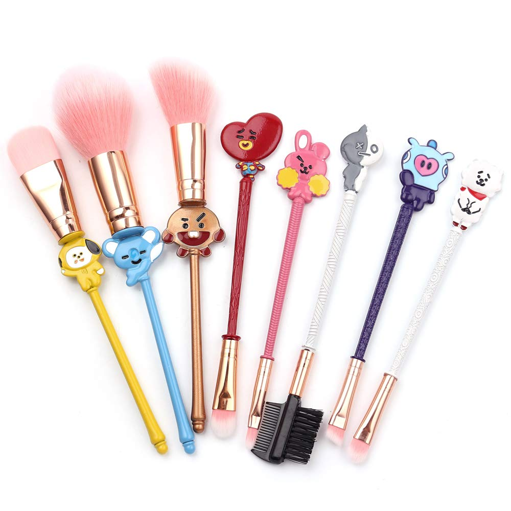 Cute BTS Makeup Brushes Set - 8pcs Fairy Makeup Brushes with Soft Pink Fiber and Metallic Handle for Eyebrow, Eyeshadow, Foundation, Blending and Lips, Great Gift for Sister Girlfriend