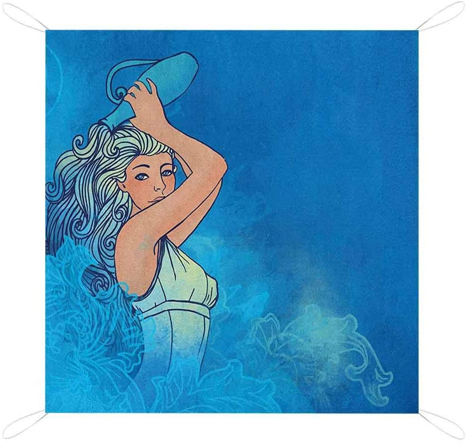 Nomorer Zodiac Aquarius Beach Blanket, Sexy Woman Lady Features Stars Beauty Fortune Pattern Portable Picnic Blankets, 67