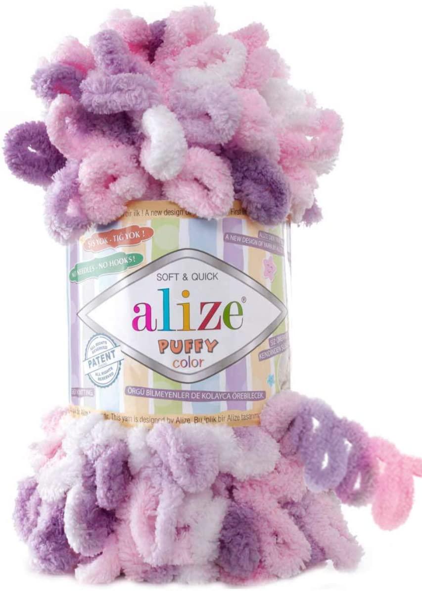 Alize Puffy Color Baby Blanket Yarn Lot of 4skn 400gr 39.3 yds 100% Micropolyester Soft Yarn Hand Knitting Yarn (6077)