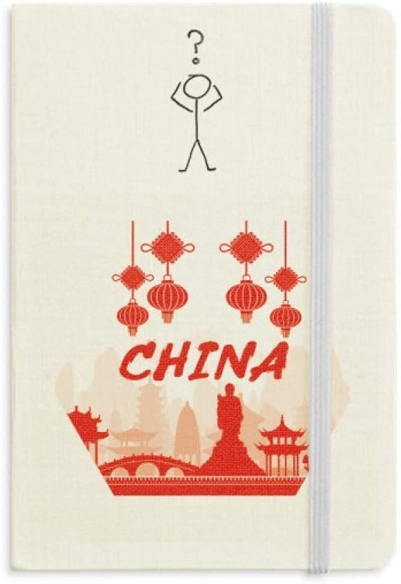 Red Silhouette Landmark China Question Notebook Classic Journal Diary A5