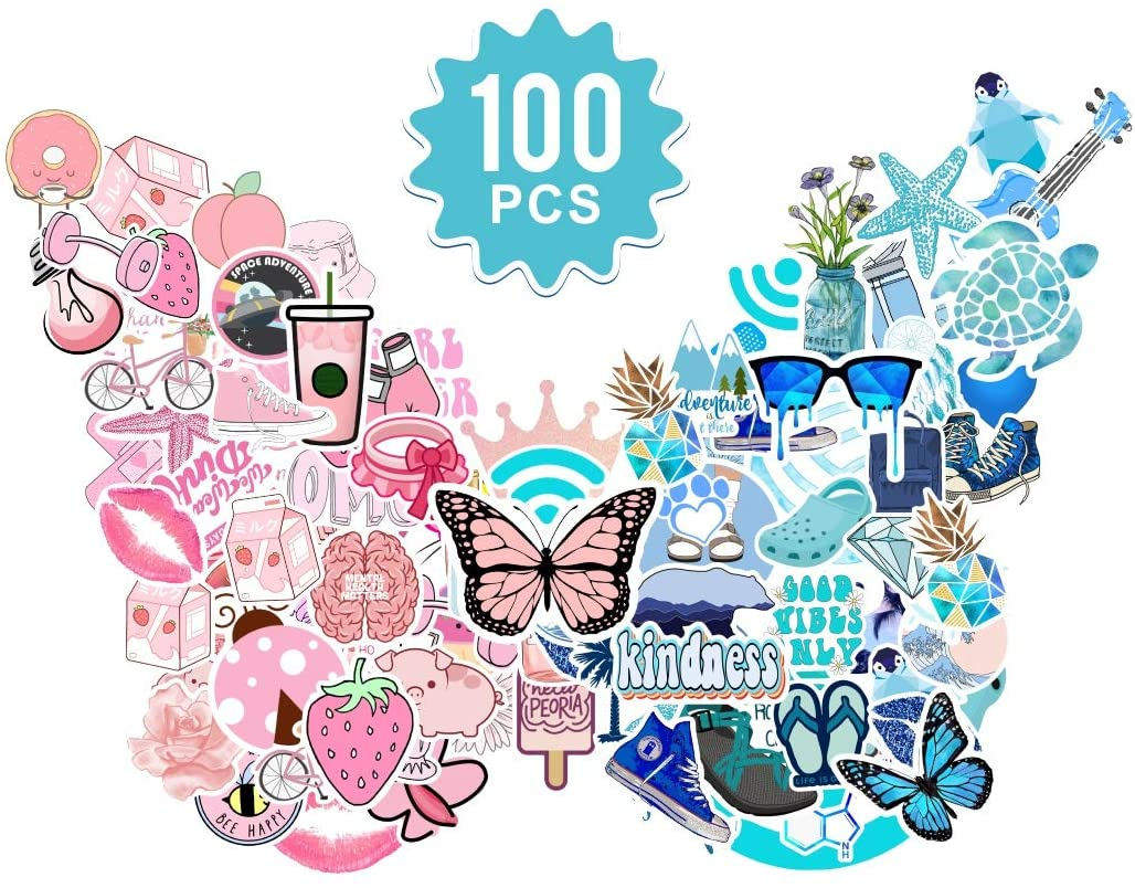 Stickers for Hydro Flask Laptop 100 Pcs,Baytion Cool VSCO Cute Vinyl Waterproof Stickers for Water Bottles Luggage Skateboard Guitar Car Bicycle,Trendy Aesthetic Stickers for Kids, Teens, Adults