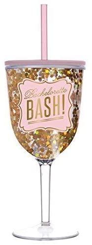 Slant Collections-Acrylic Wine Glass Tumbler, 13-Ounce, Bachelorette Bash