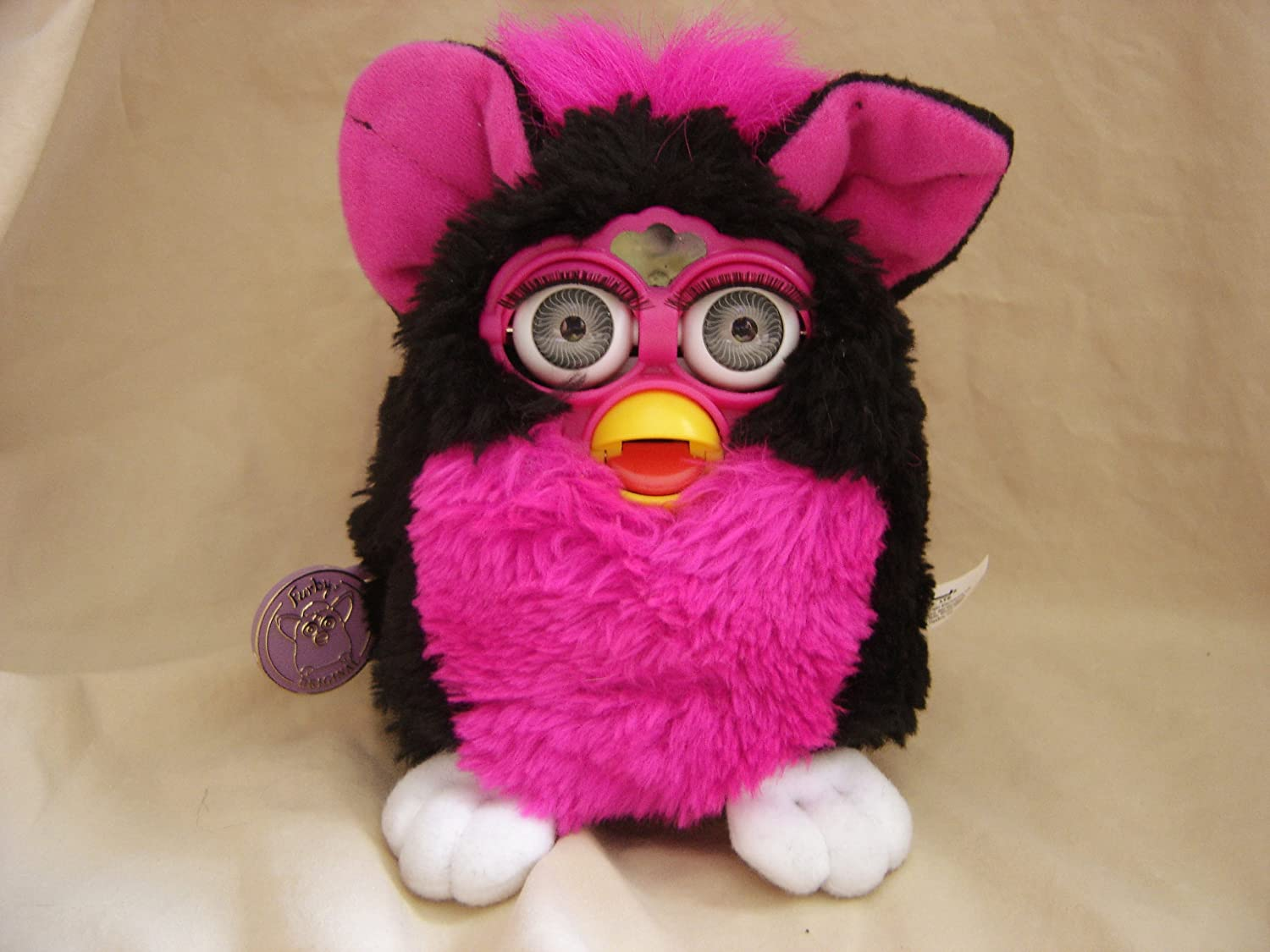 Tiger Electronic Talking Interactive Furby Black Pink Mohawk Tummy Model 70-800