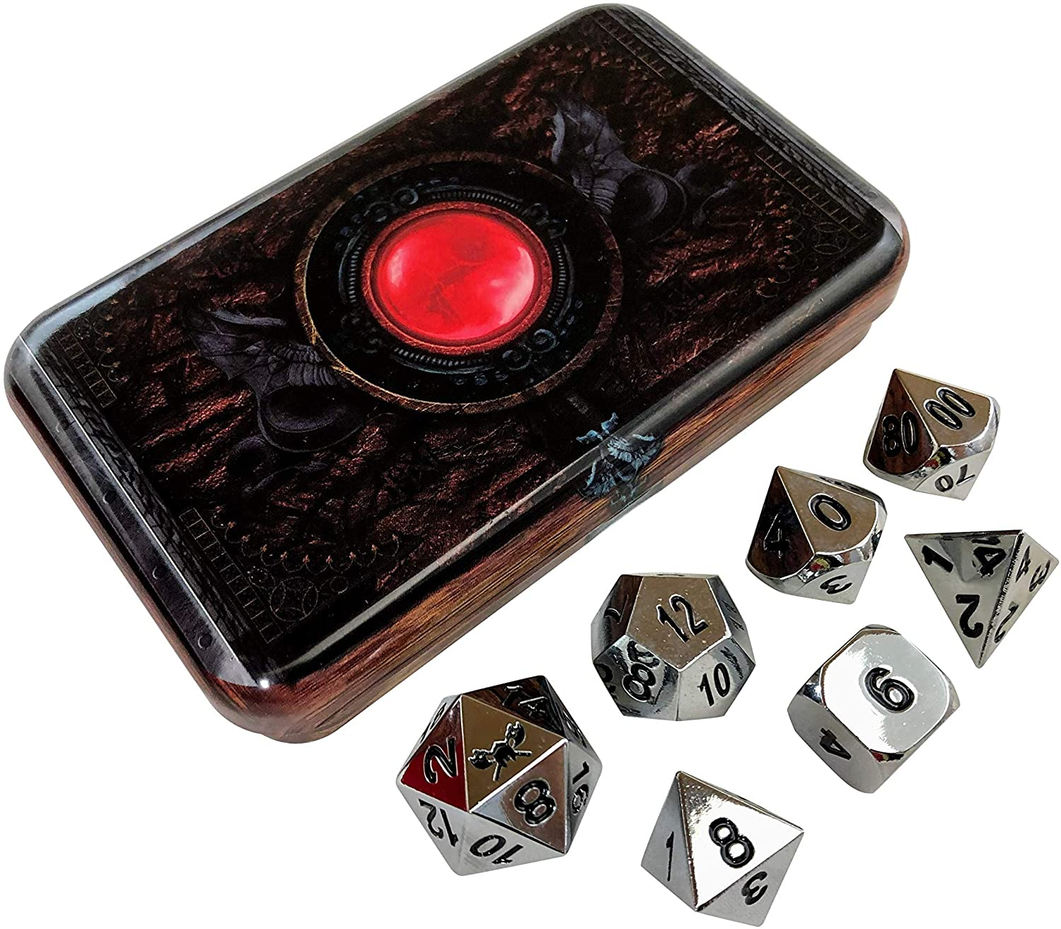 Warlock Tome Silver Chrome Color Metal RPG Polyhedral Dice Set of 7 with Dice Box for Dice Storage by SkullSplitter Dice