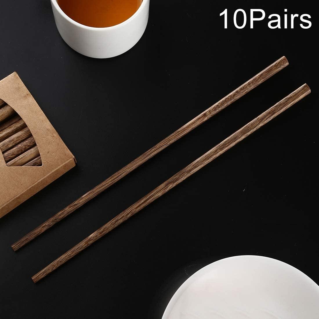 Kitchen Supplies 10 Pairs Natural Wenge Non-slip Chopsticks