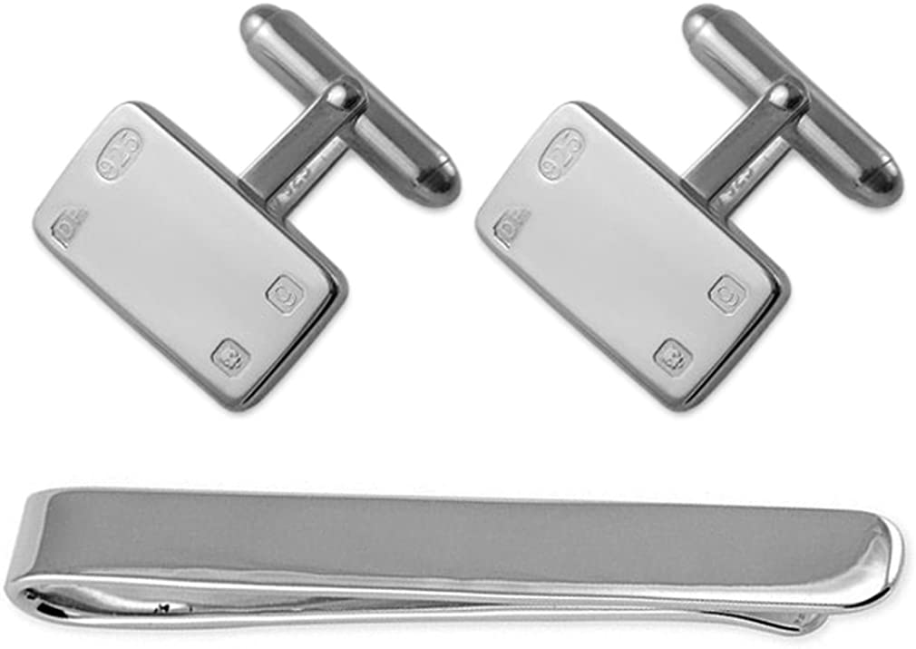 Sterling silver feature hallmark rectangular Cufflinks Tie Clip Box Set