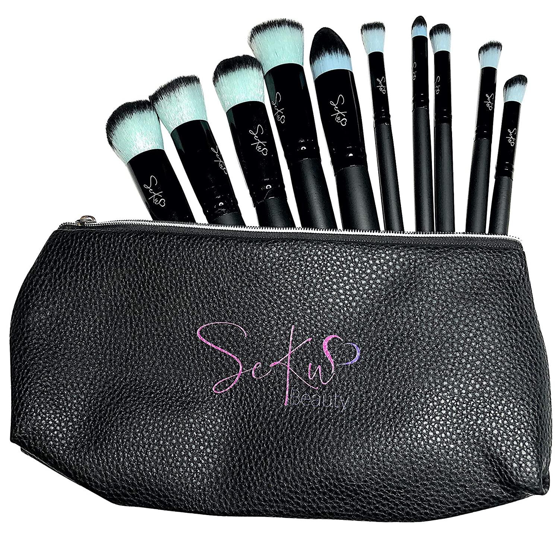 SEKU BEAUTY Makeup Brushes, Premium Makeup Brush Set Professional Makeup Kit With Pu Leather Bag (10 pcs)
