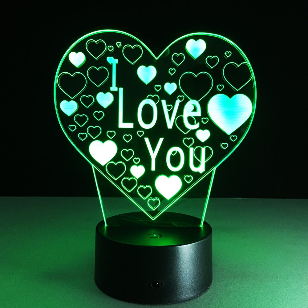 LED Night Light with Love Shape Pattern,7 Colors Changing with USB Cable,Touch Remote Control, Best for Children Gift Baby Bedroom and Party Decorations.