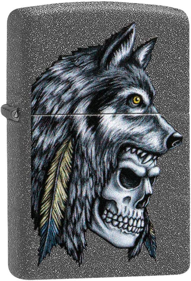 Custom Personalized Wolf Skull Feather Design Windproof Lighter Free Engraving #29863