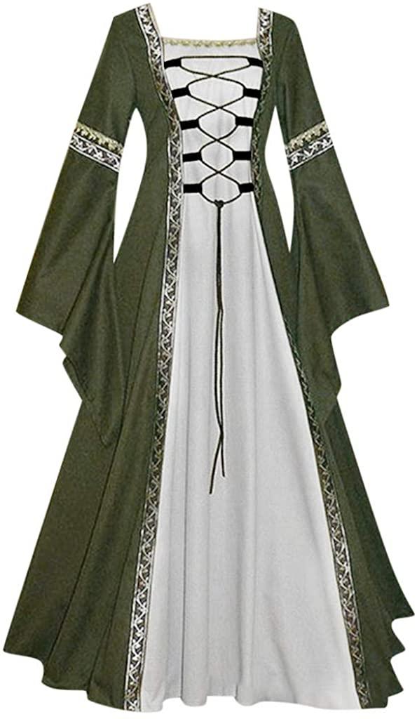 ZEFOTIM Womens Medieval Dress, Women's Vintage Celtic Medieval Floor Length Renaissance Gothic Cosplay Dress
