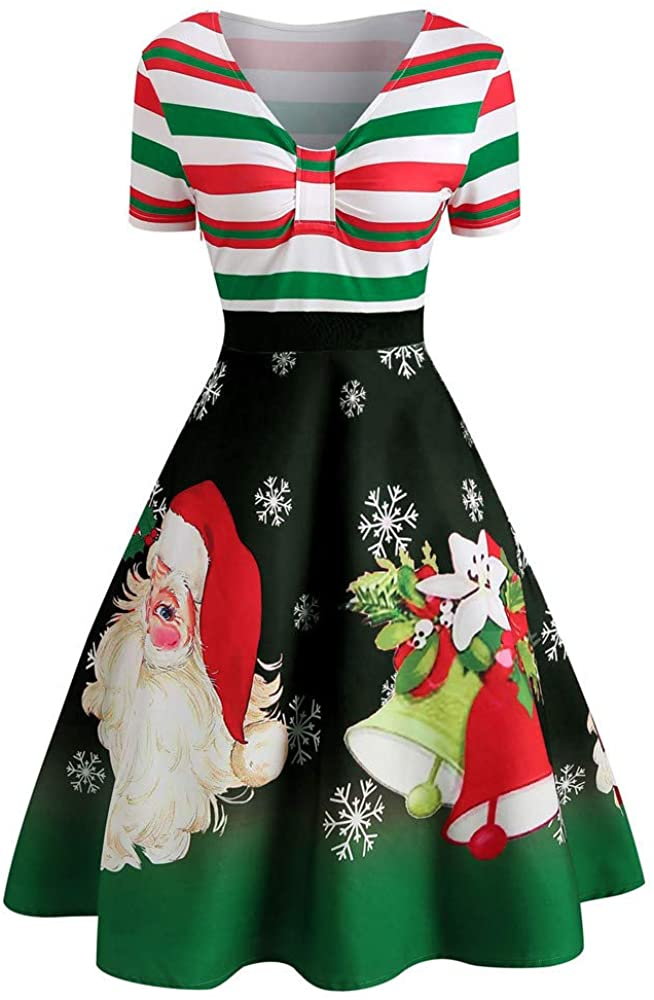 LODDD Fashion Womens Christmas Dress Santa Claus Stripe Print V-Neck Vintage Swing Dress