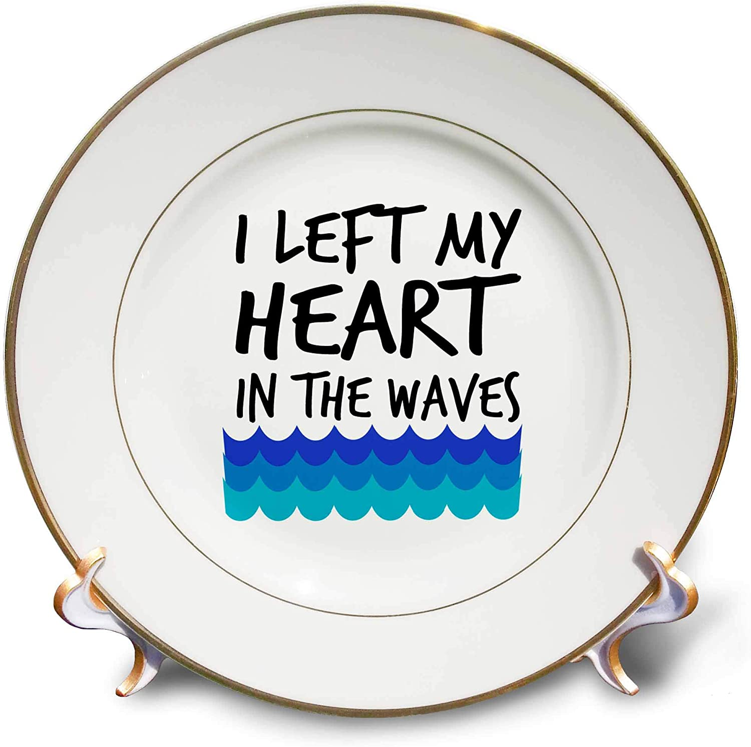 3dRose Stamp City - Typography - I Left My Heart in The Waves with Blue Waves Black on White Background - 8 inch Porcelain Plate (cp_323358_1)
