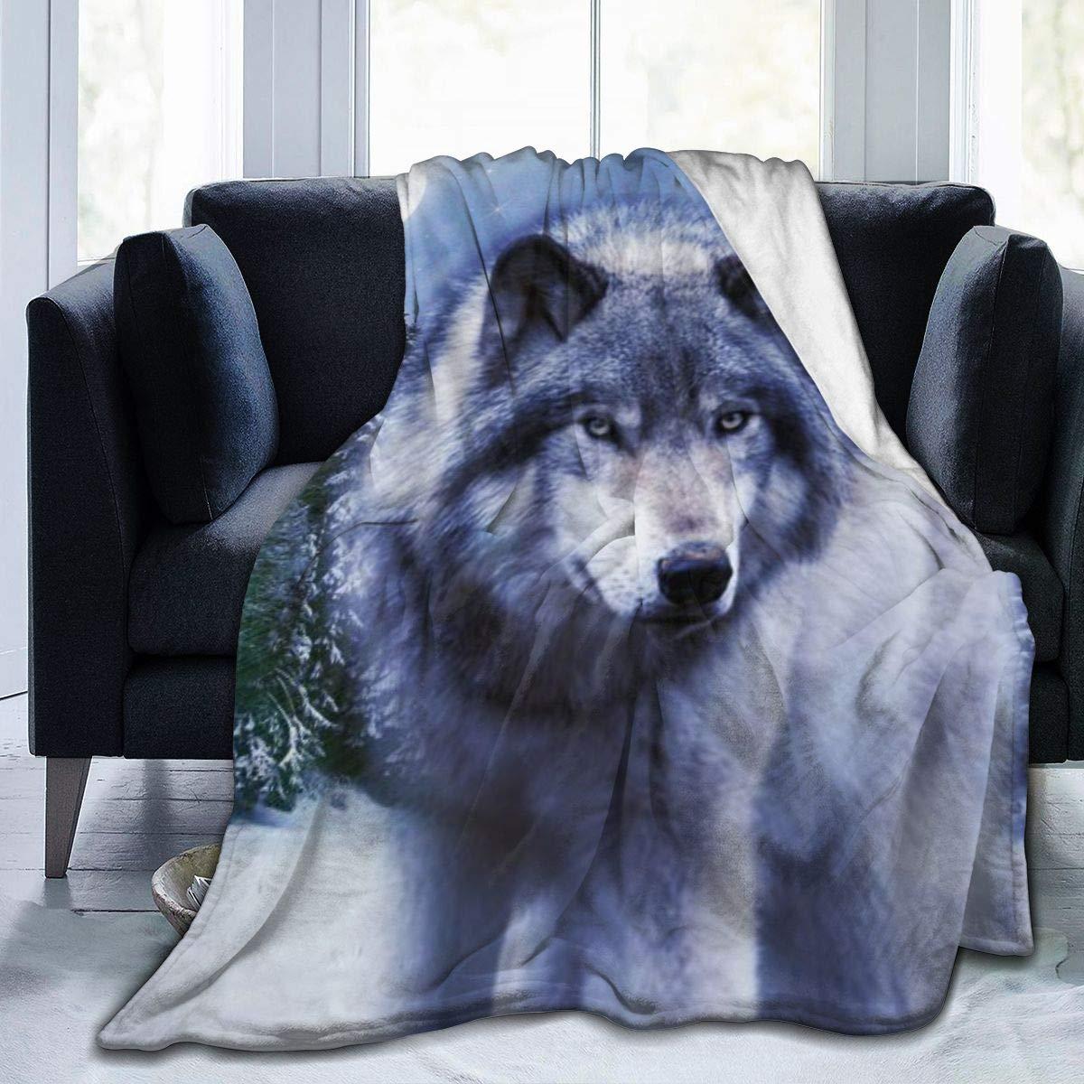 Wolf Ultra-Soft Micro Fleece Flannel Blanket Cozy Warm Blankets Throw Bed Blanket for All Season