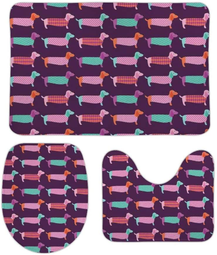 Yilooom 3 Pack Bath Mat Set, Dachshund Puppy Print Absorbent Memory Foam Soft Shower Bath Rugs Contour Mat and Lid Cover,Non Slip Velvet Bathrug,Shower Toilet Bathmats Carpet