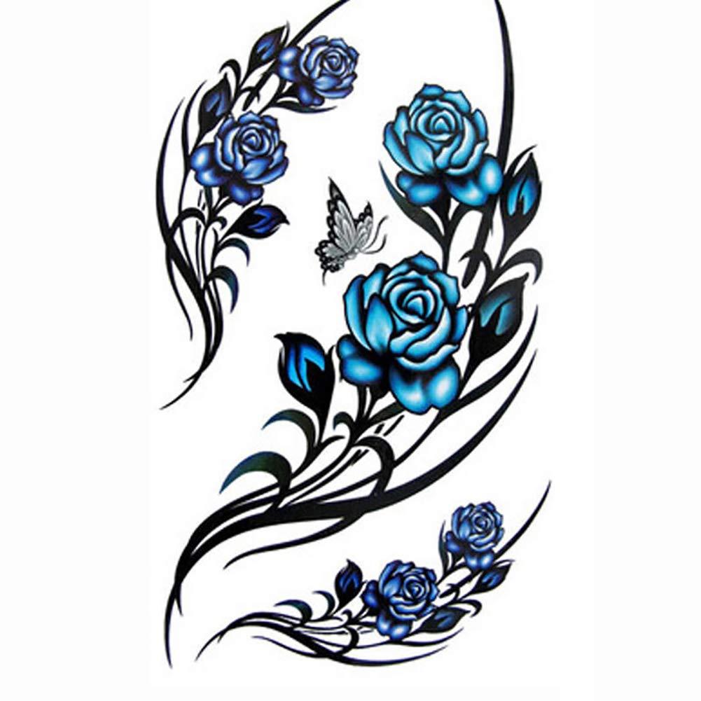 Maserfaliw Temporary Tattoos,Women Waterproof Butterfly Flower Arm Leg Tattoo Sticker Temporary Body Art As Picture