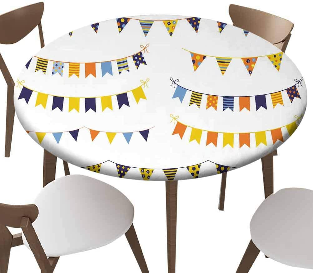 Elastic Edged Polyester Fitted Table Cover,Festive and cheerful vector buntings with colorful flags with dots and stripes,Fits up 40