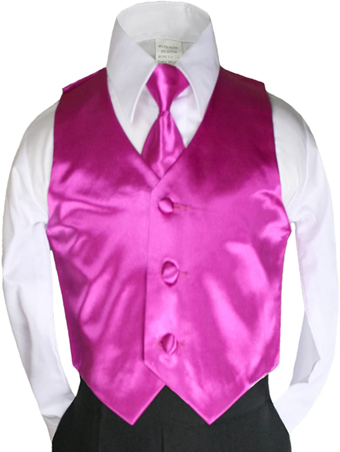2pc Fuchsia Pink Necktie Vest Set Boy Wedding Graduation Party Formal Suit Sm-20