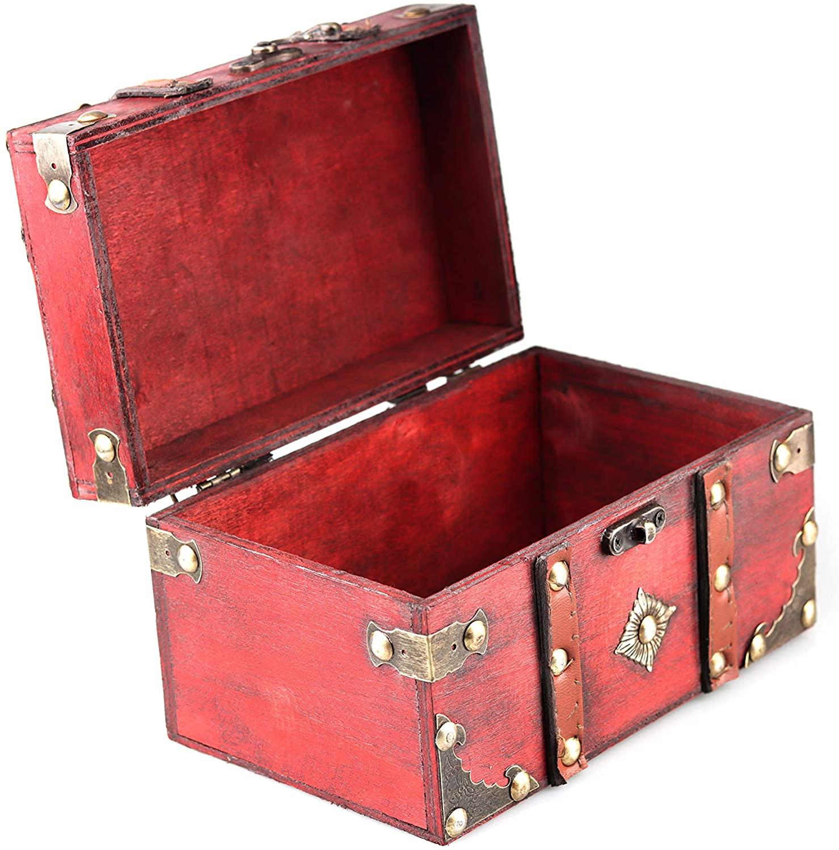 Wooden Vintage Treasure Chest Trinket Box Metal Decoration Jewelry Box Small Gift Box