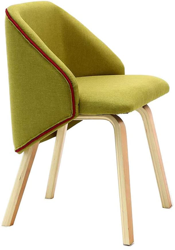 QQXX Dining Chairs Chairs Kitchen Furniture Decor Mid Century Modern Wood Linen Fabric Cafe Living Room (Color : Green 1)