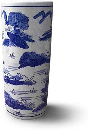 Blue & White Porcelain Ceramic Umbrella Stand Umbrella Holder Rack for Sticks Home Office Entrance Decor (Color: Style 1 Size: L- & Oslash; 19 x H44.5cm)