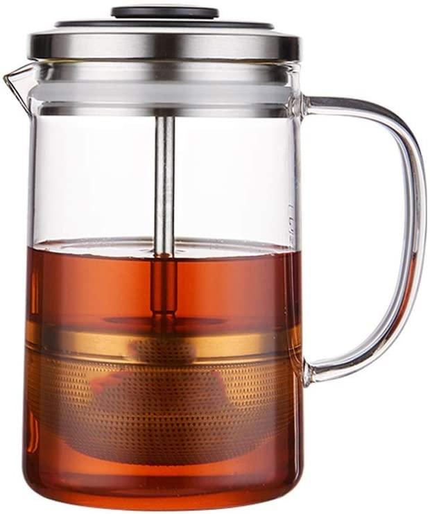 KFDQ Household Glass Kettle,Teapot Kettle Glass Tea Set Elegant Cup Teapot Office Flower Teapot Heat-Resistant Filter Pot Household Single Bubble Pot 380Ml