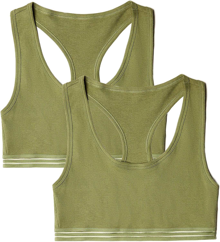 DHgate Brand - Iris & Lilly Women's Cotton Rib Light Support Sports Bra, 2-Pack