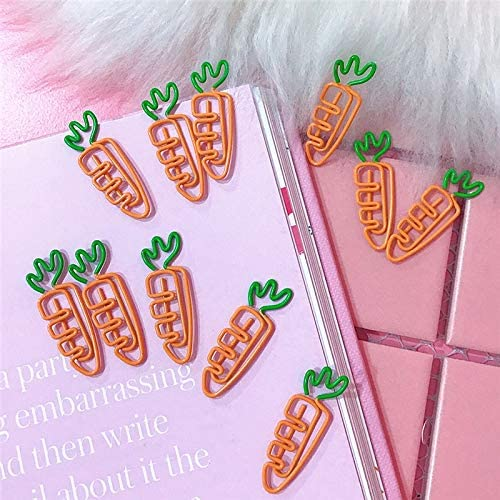 Clips 5Pcs/lot Creative Kawaii Carrot Shaped Metal Paper Clip Bookmark Stationery Notes Letter Paper Clip Office Suppliespp
