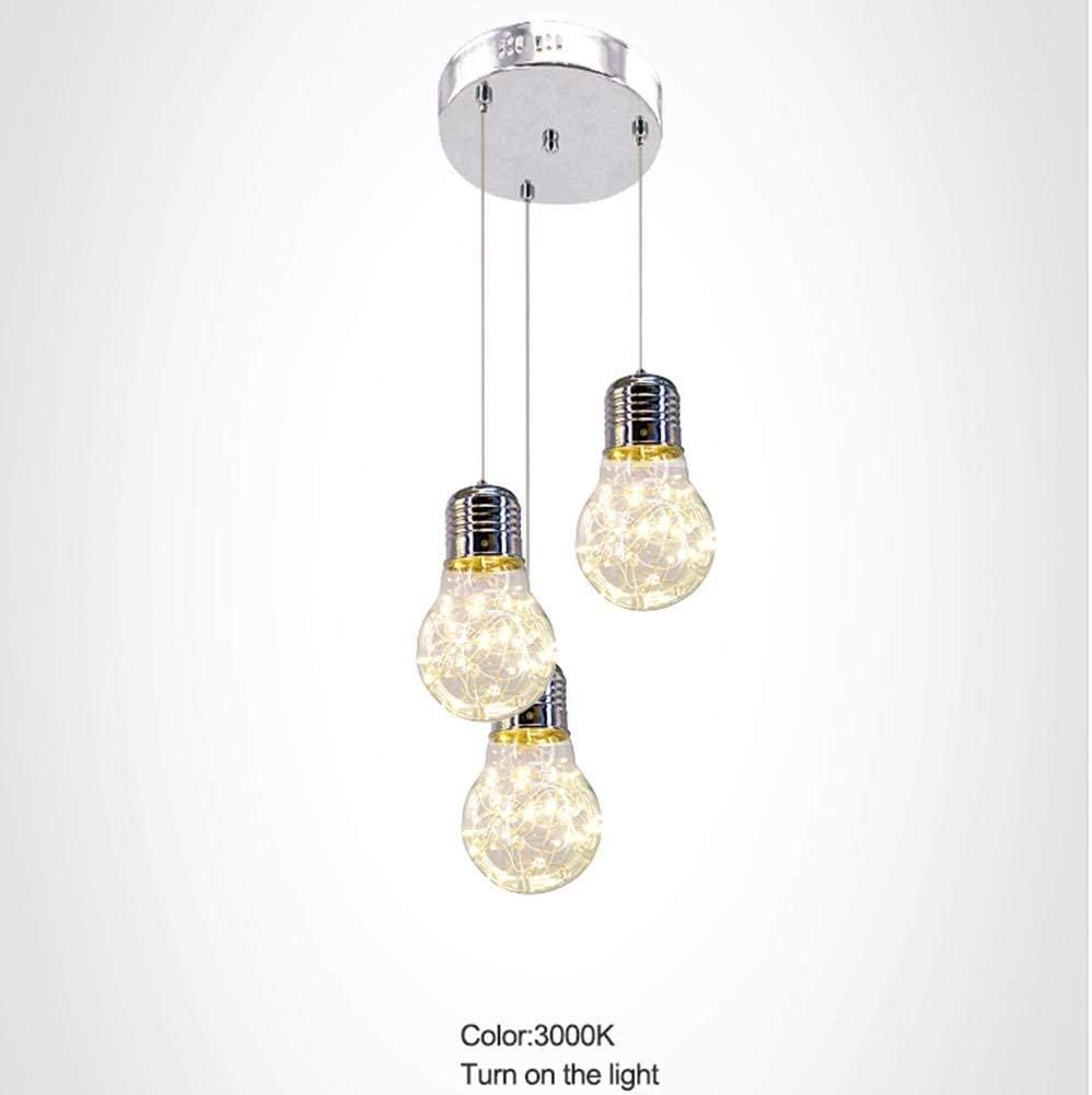 Led 3 Heads Light Bulb Chandelier/Pendent Lamp Aluminum Alloy Glass Creativity Light Fixture Parlour Bedchamber Restaurant Light30 30 120Cm Silver [Energy Efficiency A+], BOSSLV