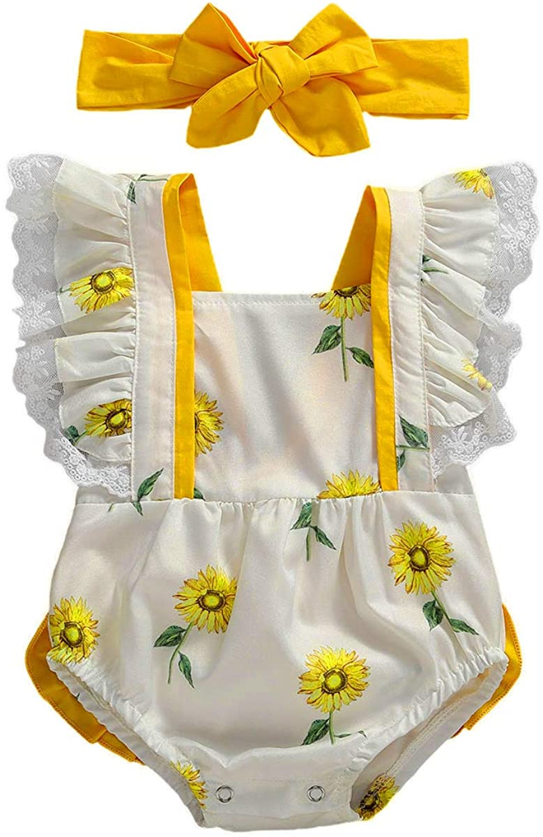 Bliweek Infant Baby Girl Summer Clothes Sunflower Ruffle Jumpsuit Romper Playsuit + Headband Outfit 0-18M