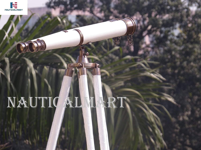NauticalMart Nautical Admiral's Tripod Binoculars Brushed Nickel/White Leather 62
