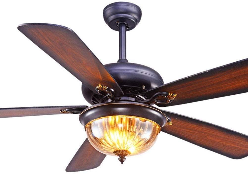 Fan Chandelier, Restaurant Fan Ceiling Lights, Wall Control Switch Fan Pendant Lighting, Antique Wood Leaf 42 Inch 52 Inch Fan Fixtures (Size : 52in)
