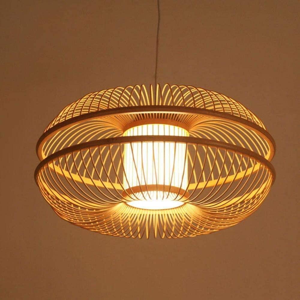 Creative Bamboo Art Chandelier/Pendent Lamp Restaurant Parlour Corridor Healthy and Environmentally Illumination Lamps Handmade Weaving Lantern 46 46 22Cm Wood Color, BOSSLV