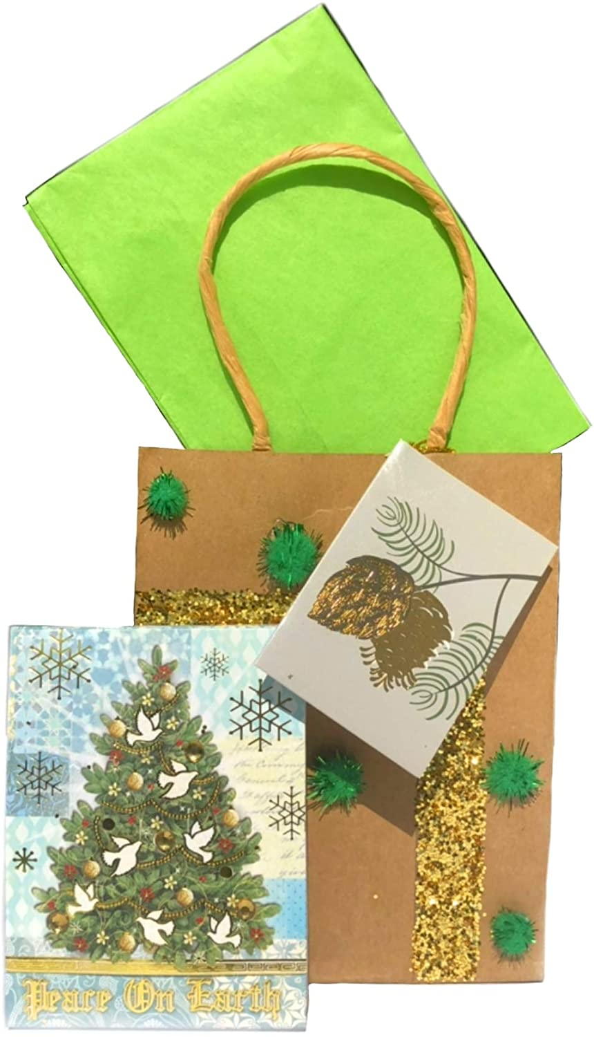 Punch Studio 66397 Christmas Gold Foil and Gem Embellished Notepad Peace On Earth + Gift Bag. Christmas.