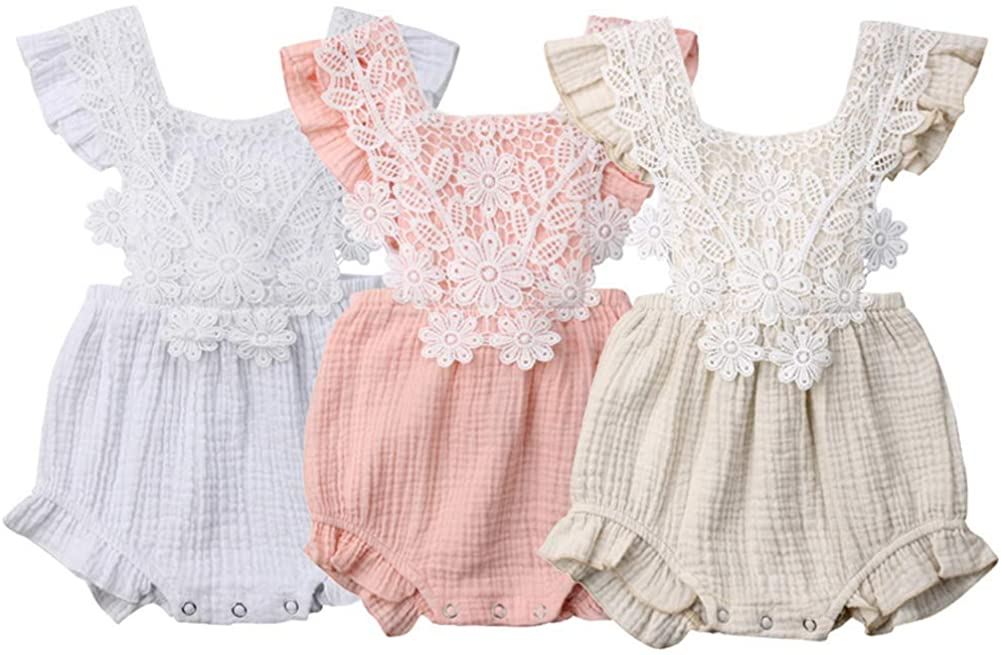 Newborn Infant Baby Girl Lace Floral Romper Sleeveless One Piece Bodysuit Jumpsuit Sunsuit Summer Clothes Outfits